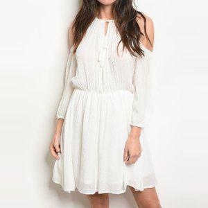 Halter Tie Neck Cold Shoulder Cutout Dress